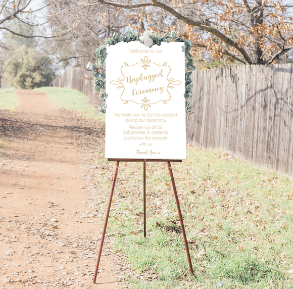 Unplugged Wedding Ceremony Sign  - White & Gold