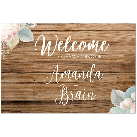 Rustic Blossom Wedding Welcome Sign