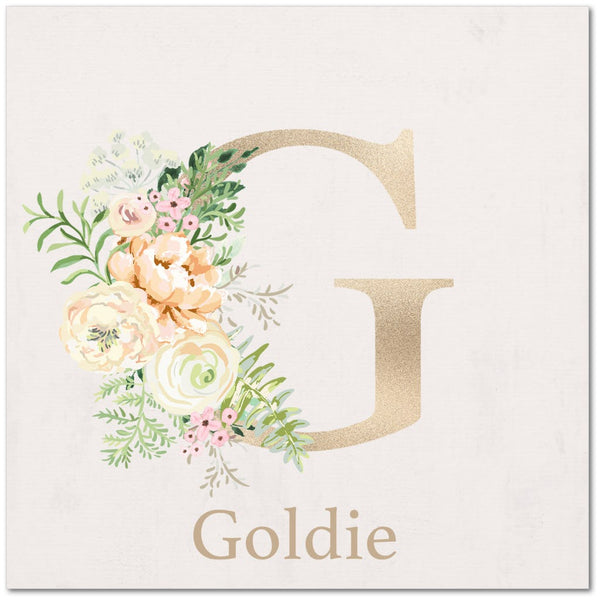 Floral Monogram Canvas - Goldie Floral Collection