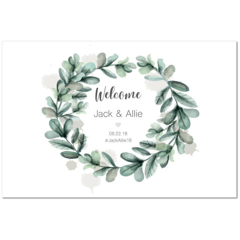 Watercolor Wreath Wedding Welcome Sign