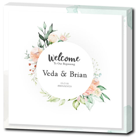 Veda Floral Sign with Watercolor Background