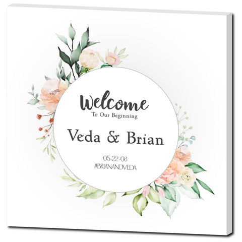Veda Floral Wedding Welcome Sign