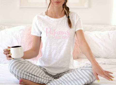 Pajamas All Day Short-Sleeve T-Shirt Pink & White