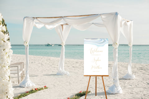 Beach Wedding Welcome Sign in Seaglass