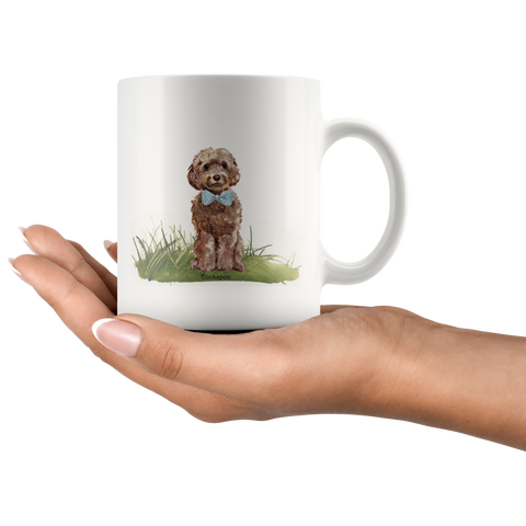 Brown Cockapoo with Bowtie Coffee Mug