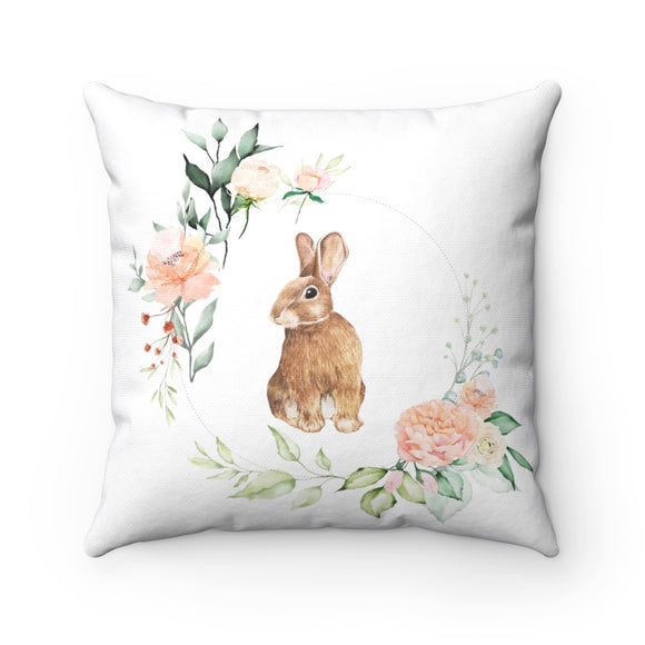 Spring Rabbit Wreath Square Pillow
