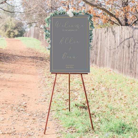 Allie Elegant Grey Wedding Welcome Sign
