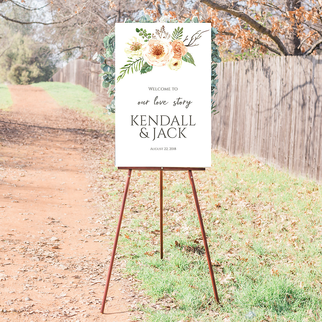 Wedding Welcome Sign - Orange Blossom