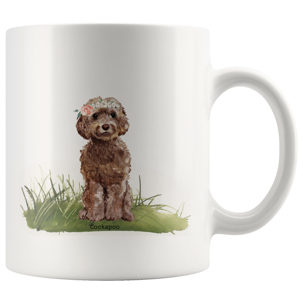 Brown Cockapoo with Floral Crown Coffee Mug