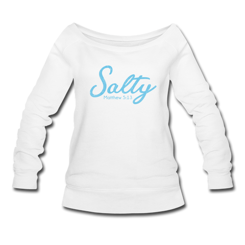 Salty Women's Wideneck Sweatshirt - white