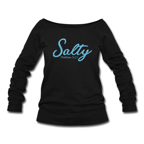 Salty Women's Wideneck Sweatshirt - black