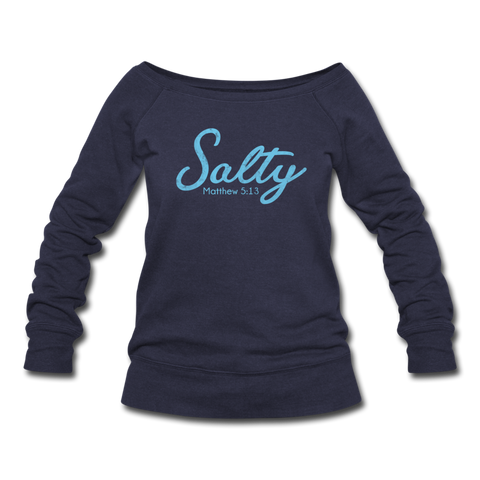 Salty Women's Wideneck Sweatshirt - melange navy