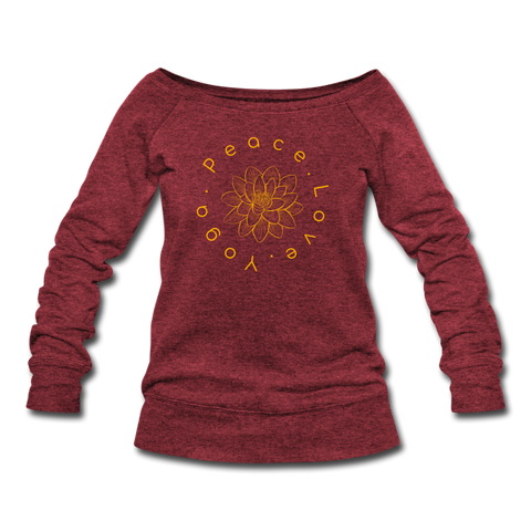 Peace Love Yoga Sweatshirt - cardinal triblend