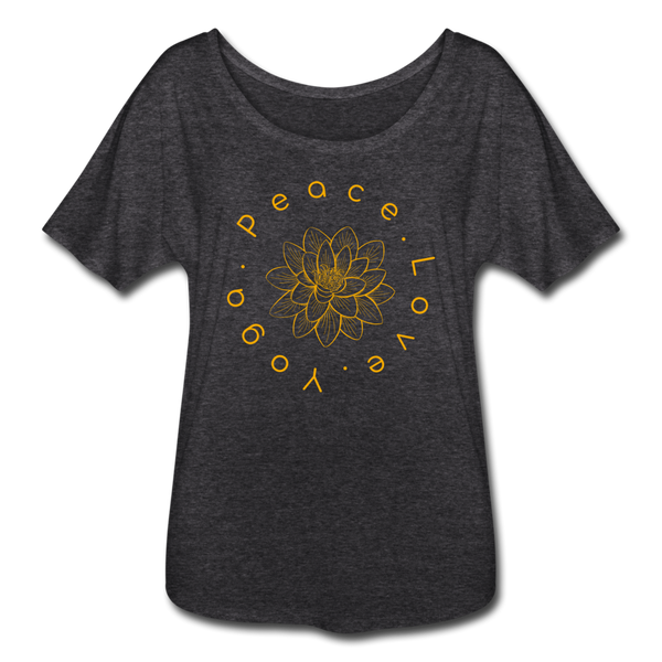 Peace Love Yoga Flowy T-Shirt - charcoal gray