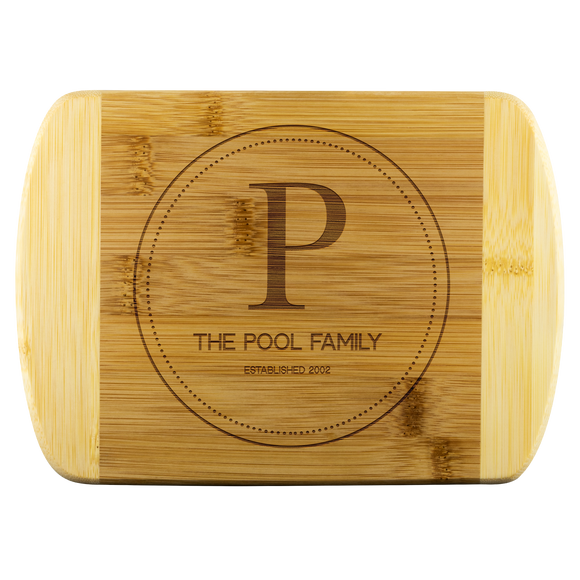 Personalized Organic Bamboo Cutting Board - Monogram