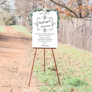 Unplugged Wedding Ceremony Sign - White & Gray