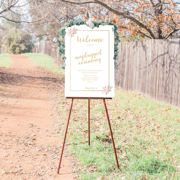 Unplugged Wedding Ceremony Sign - White & Gold Floral