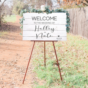 Distressed White Boards Wedding Sign