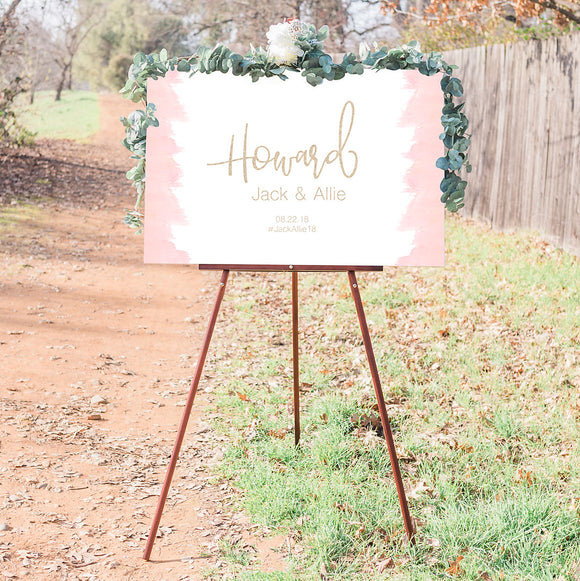 Pink Watercolor Wedding Welcome Sign
