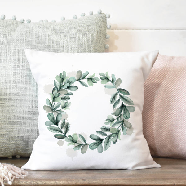 Watercolor Wreath  Pillow