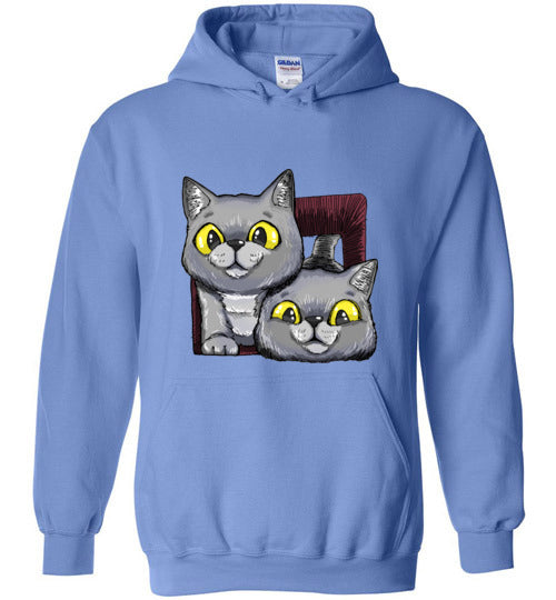 Exo and Exi the Excited Cats Unisex Hoodie Jacket S-2XL-Hoodie-Carolina Blue-S-Kucicat
