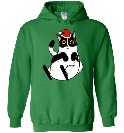 Christmas Cat Men's Women's Hoodie-hoodie-Irish Green-S-Kucicat