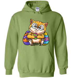 Nedi The Nerdy Cat with Easter Egg Hoodie-Hoodie-[Color]-[Material]-[Size]-Kucicat