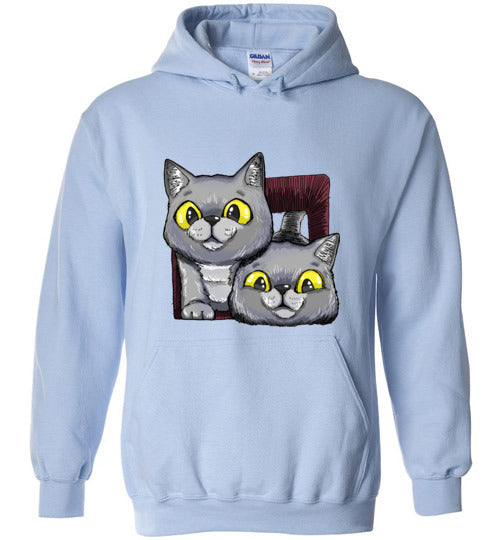 Exo and Exi the Excited Cats Unisex Hoodie Jacket S-2XL-Hoodie-Light Blue-S-Kucicat