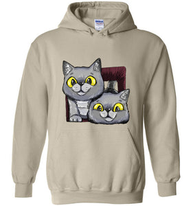 Exo and Exi the Excited Cats Unisex Hoodie Jacket S-2XL-Hoodie-[Color]-[Material]-[Size]-Kucicat