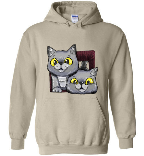 Exo and Exi the Excited Cats Unisex Hoodie Jacket S-2XL-Hoodie-Sand-S-Kucicat