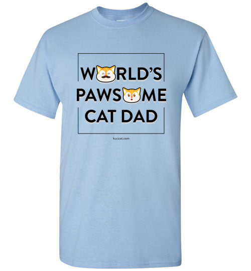 Cat Dad Men's T-shirt World's Pawsome Cat Dad Series 2 S-2XL-T-shirt-Kucicat