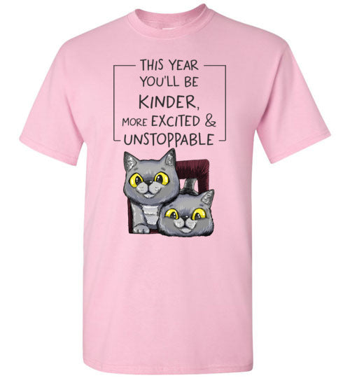 Exo and Exi the Excited Cats This Year You'll be Kinder, More Excited & Unstoppable Motivational Kids T-shirt-T-shirt-Kucicat
