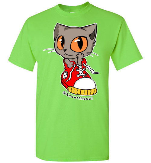Knoet Cat Kids T-shirt On The Shoes-T-shirt-Lime-Youth XS-Kucicat