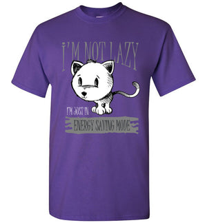 I'm Not Lazy I'm Just in Energy Saving Mode Funny Cat Men's T-shirt-Kucicat
