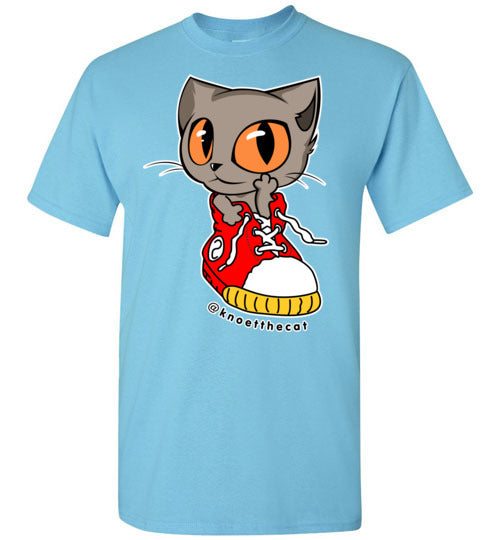 Knoet Cat Kids T-shirt On The Shoes-T-shirt-Sky-Youth S-Kucicat