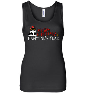 Meowy Christmas and Happy New Year Happy Cat Women's Tank Top-T-shirt-Black-S-Kucicat