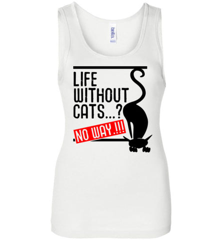 Funny Cat Women's Tank Top Life Without Cats No Way S to 2XL-Tank Top-White-S-Kucicat