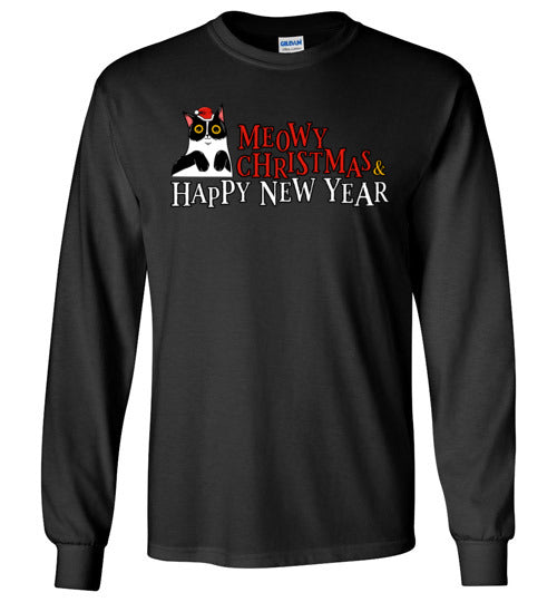 Meowy Christmas and Happy New Year Happy Cat Long Sleeve T-shirt-T-shirt-Kucicat