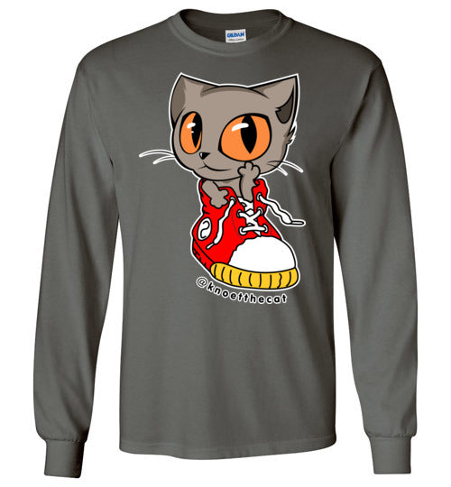 Knoet Cat Kids Long Sleeve T-shirt On The Shoes