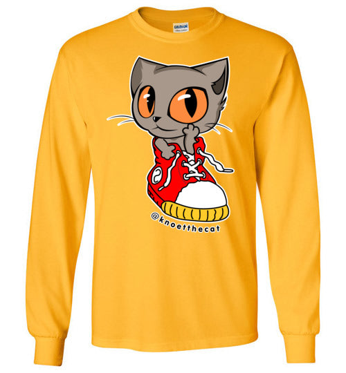 Knoet Cat and The Shoes Unisex Long Sleeve T-shirt S to 2XL-T-shirt-Gold-S-Kucicat