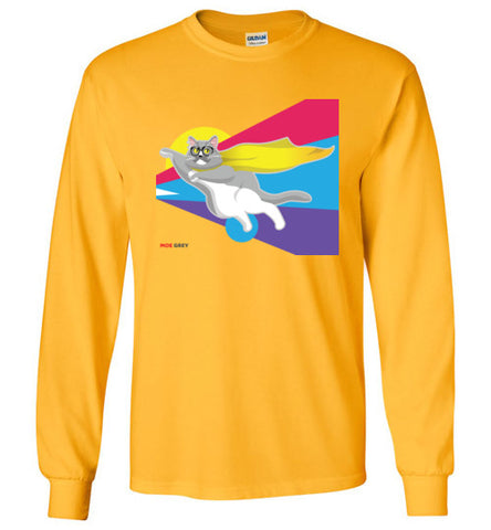 Moe Grey Flying Unisex Long Sleeve T-Shirt S-2XL
