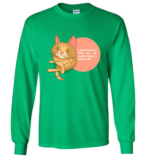 Cat Mom Kids Long Sleeve T-shirt I Work Hard So That My Cat Could Have A Better Life S-XL-T-shirt-Irish Green-Youth S-Kucicat
