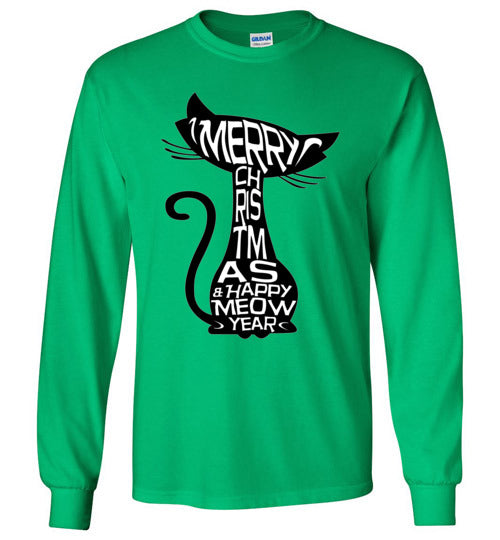 Merry Christmas and Happy Meow Year Unisex Long Sleeve T-shirt-T-shirt-Kucicat