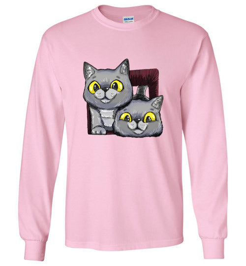 Exo and Exi the Excited Cats Unisex Long Sleeve T-shirt S-2XL-Long Sleeve T-shirt-Kucicat