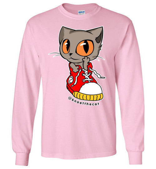 Knoet Cat Kids Long Sleeve T-shirt On The Shoes-T-shirt-Light Pink-Youth S-Kucicat