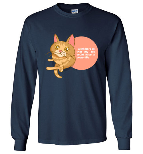 Cat Mom Kids Long Sleeve T-shirt I Work Hard So That My Cat Could Have A Better Life S-XL-T-shirt-Navy-Youth S-Kucicat