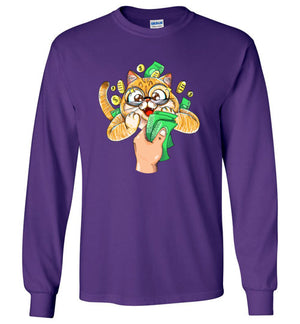Nedi The Cat Kids Long Sleeve T-shirt Cat Loves Money Funny Collections-T-shirt-Kucicat