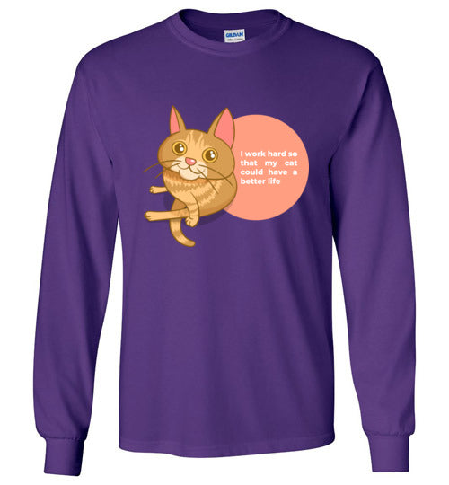 Cat Mom Kids Long Sleeve T-shirt I Work Hard So That My Cat Could Have A Better Life S-XL-T-shirt-Purple-Youth S-Kucicat