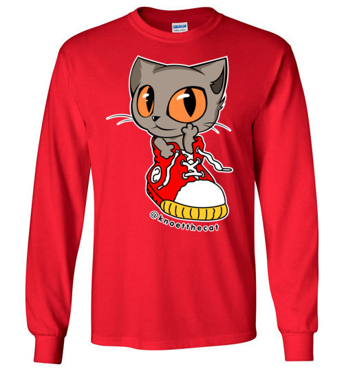 Knoet Cat and The Shoes Unisex Long Sleeve T-shirt S to 2XL-T-shirt-Red-S-Kucicat