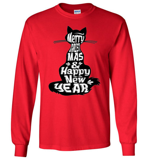 Merry Christmas and Happy New Year Cat Silhouette Long Sleeve T-shirt-T-shirt-Kucicat